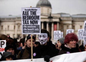 There have been widespread protests against the bedroom tax