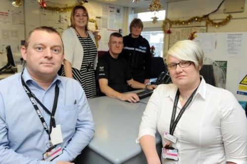 Community Psychiatric Nurses Kieran McCollum and REvecca Green . At the back areJanet Childs Integrated Clinical Lead L and D, Sgt Steve May and Insp Debbie Grafton