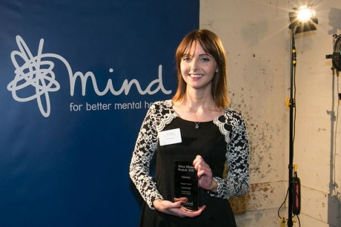 Laura-Nuttall-picking-up-her-blogging-award-at-the-Mind-Media-Awards