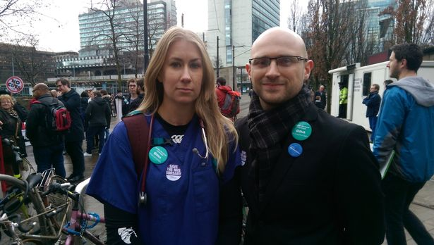 Junior doctors Sarah Lawrence and Phil Webb