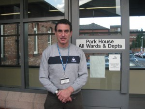 Elected Chairman Mr Alan Hartman outside the Offices of Manchester Users Network