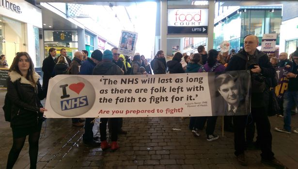 Nurses and junior doctors gather at rally in Manchester city centre to protest against plans to scrap NHS bursary
